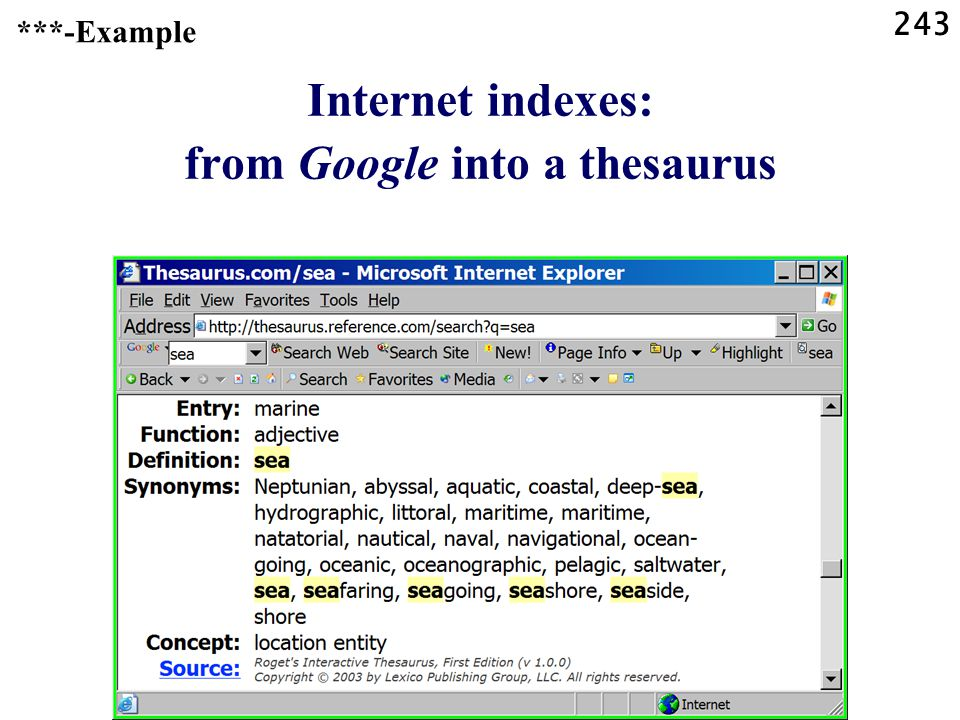 243 Internet indexes: from Google into a thesaurus ***-Example