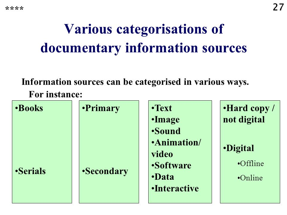 27 Various categorisations of documentary information sources Information sources can be categorised in various ways.