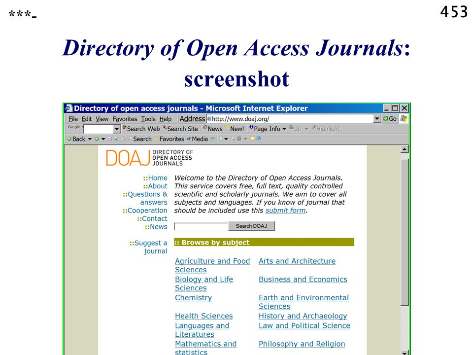 453 ***- Directory of Open Access Journals: screenshot