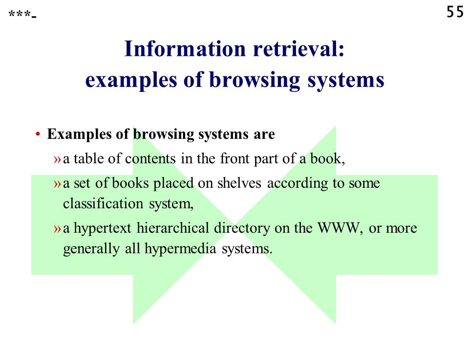 55 Information retrieval: examples of browsing systems Examples of browsing systems are »a table of contents in the front part of a book, »a set of books placed on shelves according to some classification system, »a hypertext hierarchical directory on the WWW, or more generally all hypermedia systems.