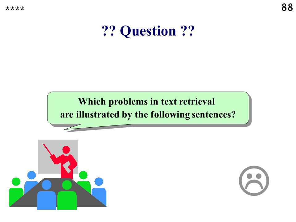 . Question . Which problems in text retrieval are illustrated by the following sentences.