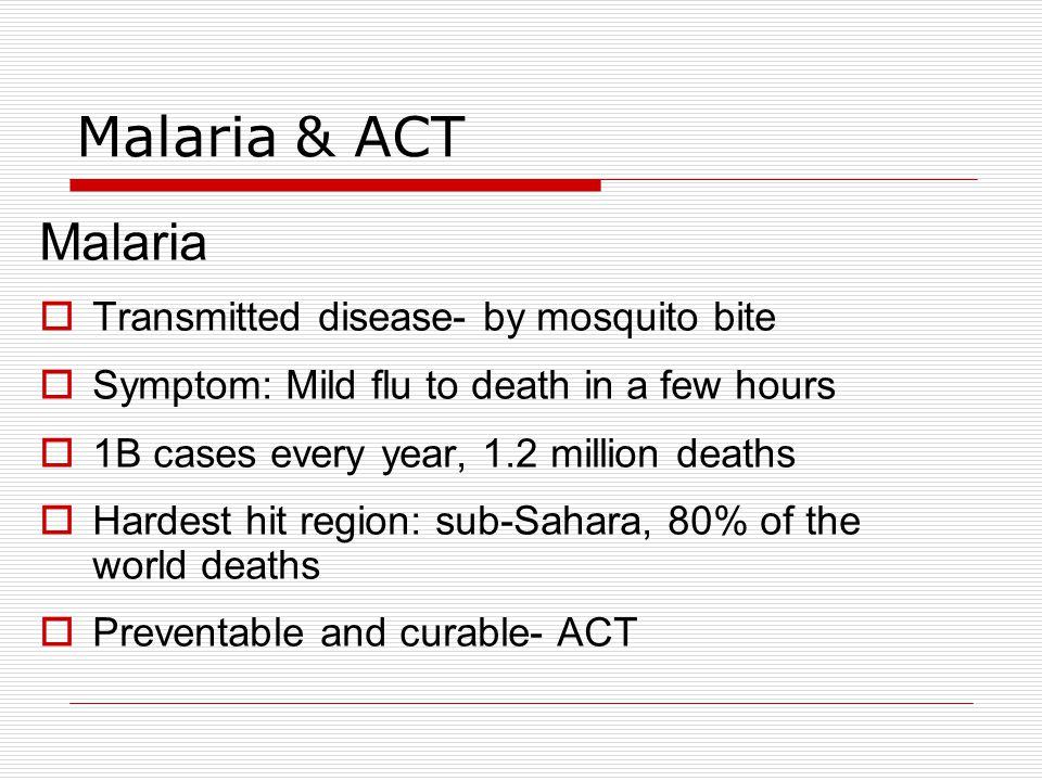 Malaria & ACT (con´t) ACT  Artemisinin-based Combination Therapy  Artemisinin derivative (eg.