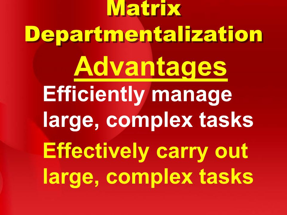 Advantages Matrix Departmentalization Efficiently manage large, complex tasks Effectively carry out large, complex tasks
