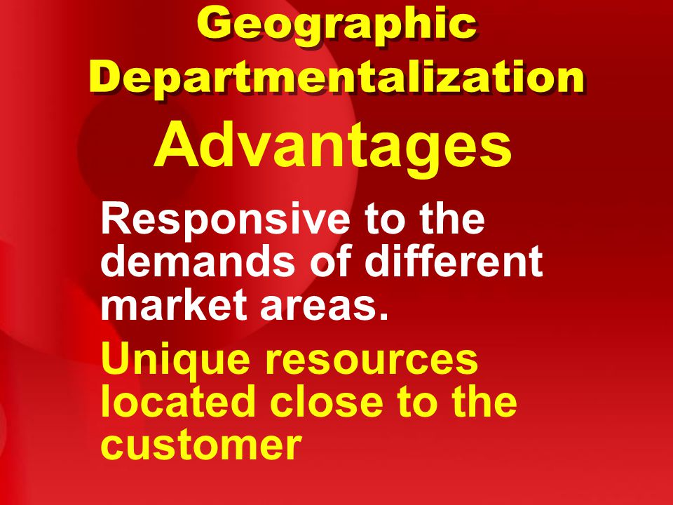 Disadvantages Geographic Departmentalization Duplication of resources.