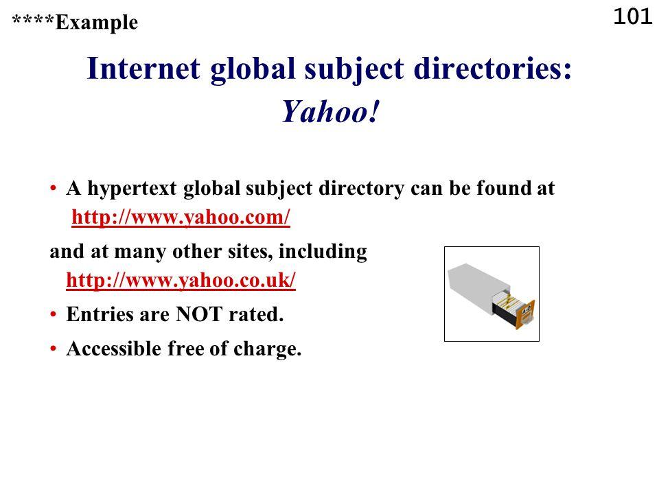 101 Internet global subject directories: Yahoo.