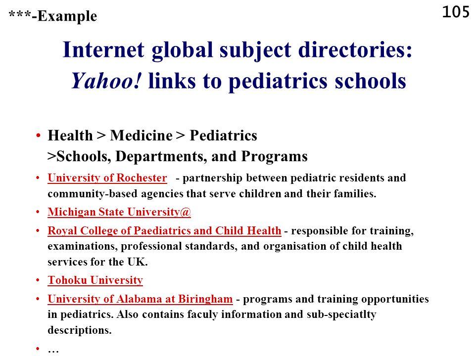 105 Internet global subject directories: Yahoo.