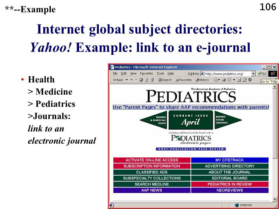106 Internet global subject directories: Yahoo.