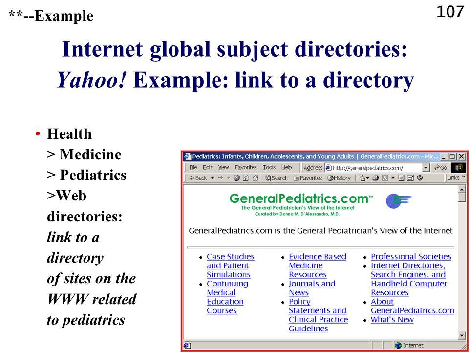 107 Internet global subject directories: Yahoo.