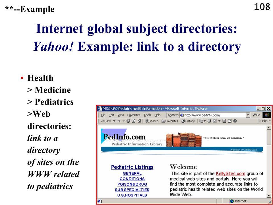 108 Internet global subject directories: Yahoo.