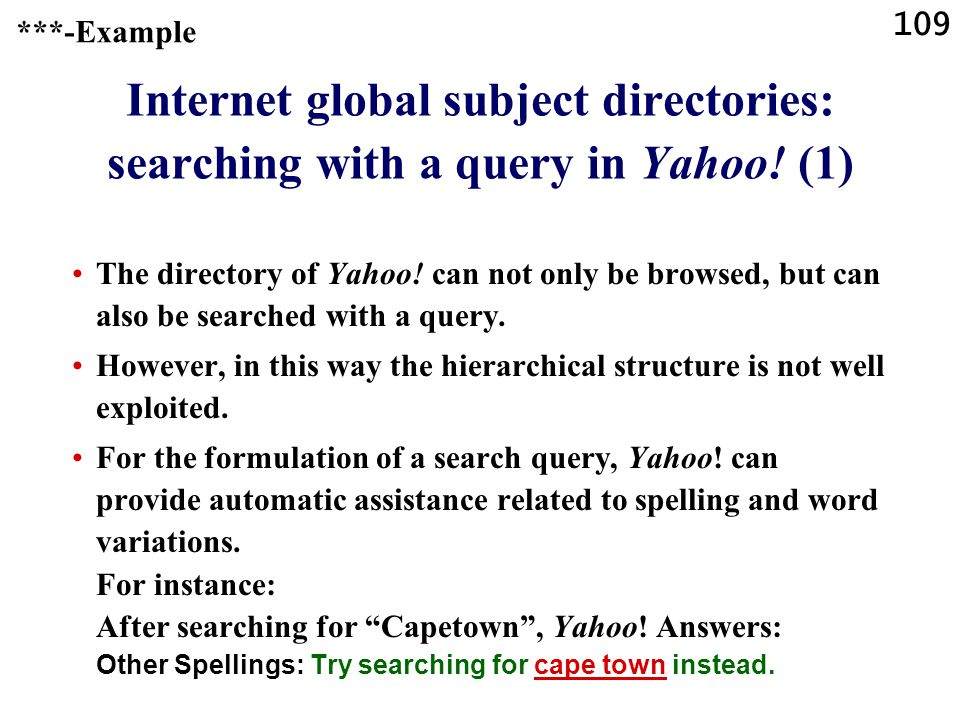 109 Internet global subject directories: searching with a query in Yahoo.