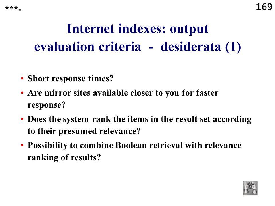 169 Internet indexes: output evaluation criteria - desiderata (1) Short response times.