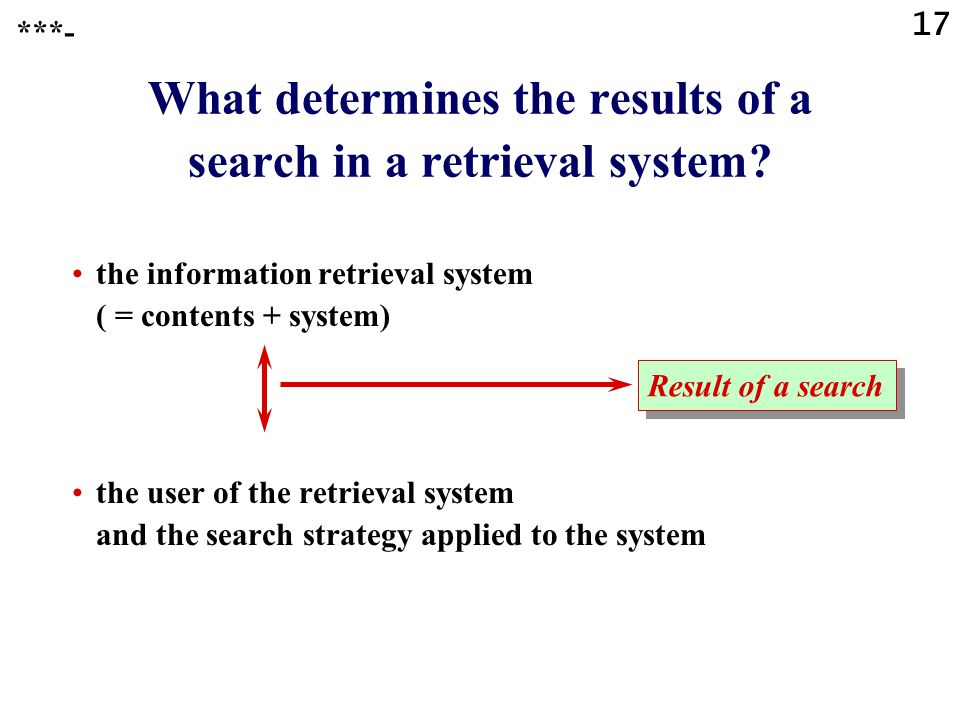 17 What determines the results of a search in a retrieval system? the information retrieval system ( = contents + system) the user of the retrieval sy