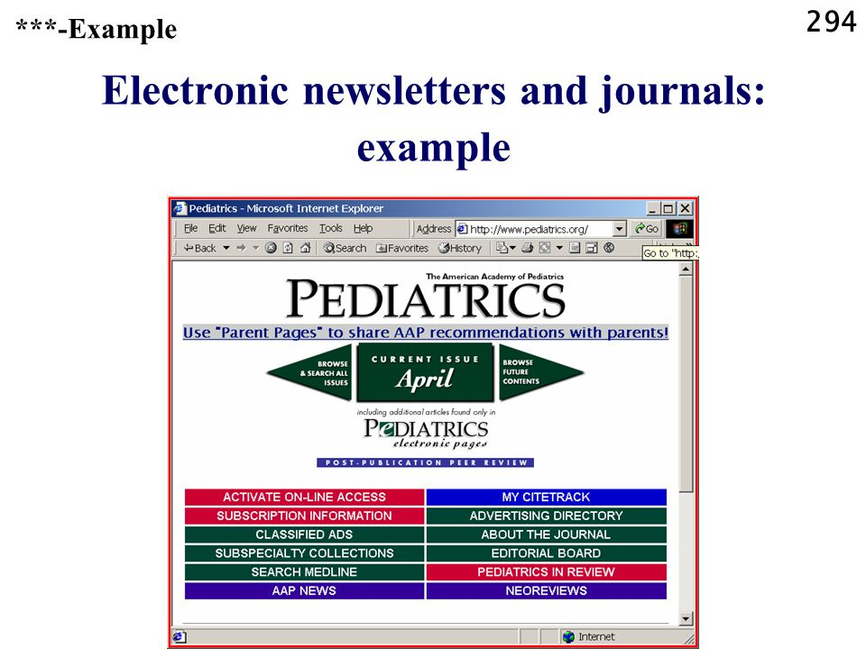 294 Electronic newsletters and journals: example ***-Example