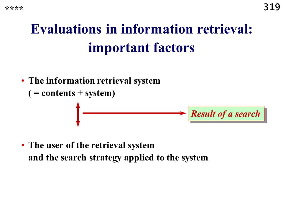 319 Evaluations in information retrieval: important factors The information retrieval system ( = contents + system) The user of the retrieval system and the search strategy applied to the system **** Result of a search