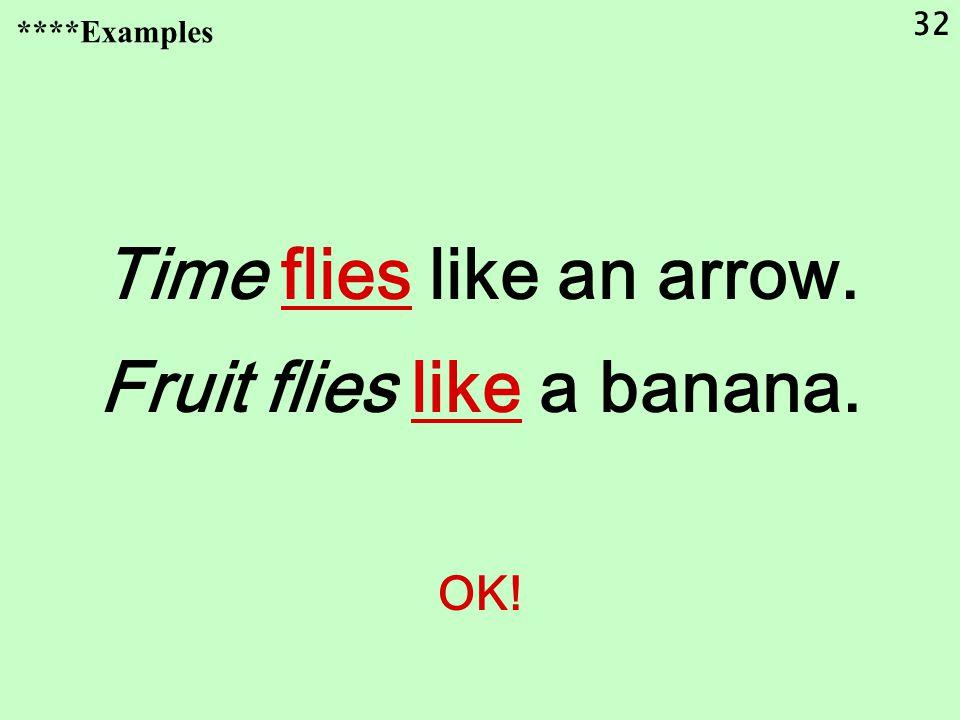 32 Time flies like an arrow. Fruit flies like a banana. OK! ****Examples