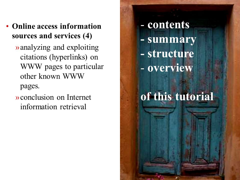 48 Hints on how to use information sources: Boolean combinations (1) Most text search systems understand the basic Boolean operators: OR = obtain records that contain one or both search terms AND = obtain records that contain both search terms NOT = exclude records that contain a search term ****