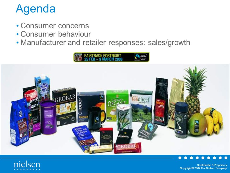 Confidential & Proprietary Copyright © 2007 The Nielsen Company Agenda Consumer concerns Consumer behaviour Manufacturer and retailer responses: sales/growth