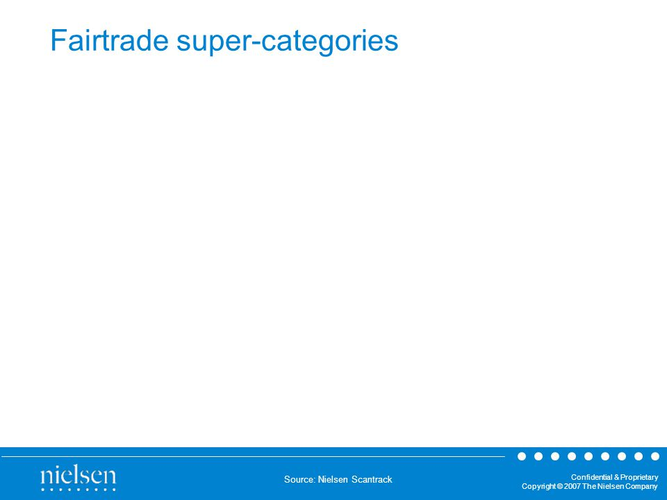 Confidential & Proprietary Copyright © 2007 The Nielsen Company Fairtrade super-categories Source: Nielsen Scantrack