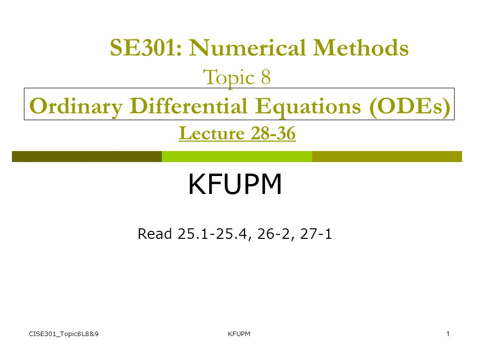 CISE301_Topic8L8&9KFUPM31 Finite Difference Method Example Divide the interval [0,1 ] into n = 4 intervals Base points are x0=0 x1=0.25 x2=.5 x3=0.75 x4=1.0