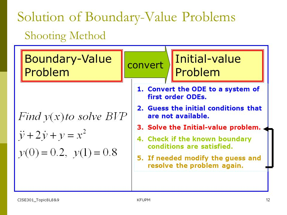 CISE301_Topic8L8&9KFUPM11 Solution of Boundary-Value Problems Shooting Method for Boundary-Value Problems 1. Guess a value for the auxiliary condition