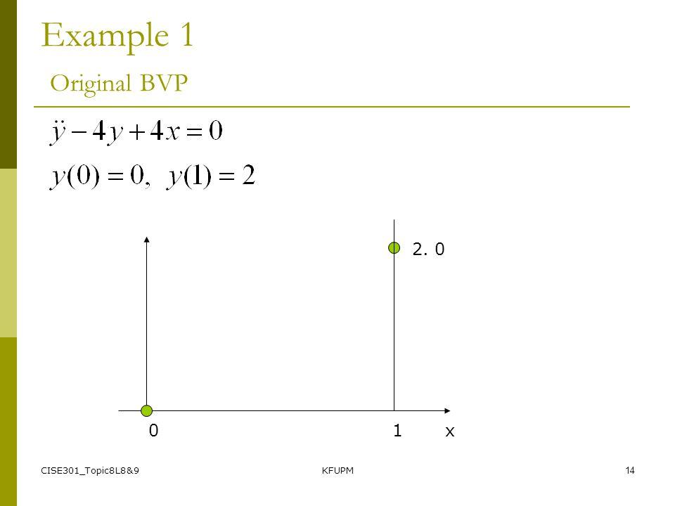 CISE301_Topic8L8&9KFUPM13 Example 1 Original BVP 0 1 x