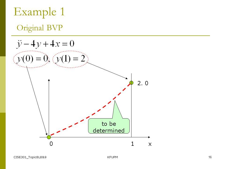 CISE301_Topic8L8&9KFUPM15 Example 1 Original BVP 2. 0 0 1 x