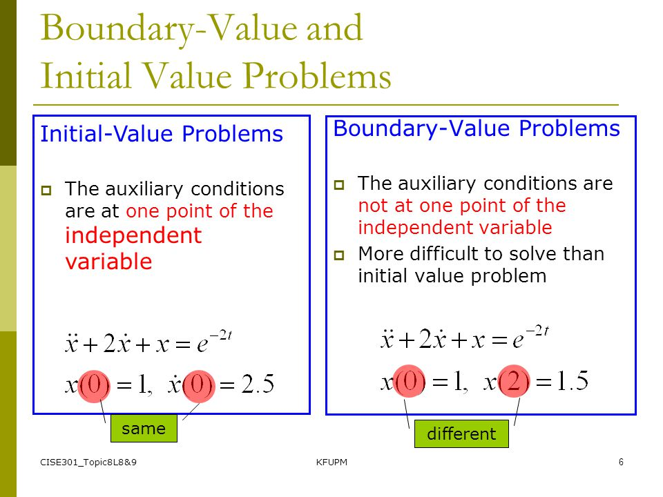CISE301_Topic8L8&9KFUPM6 Boundary-Value and Initial Value Problems Boundary-Value Problems  The auxiliary conditions are not at one point of the independent variable  More difficult to solve than initial value problem Initial-Value Problems  The auxiliary conditions are at one point of the independent variable same different
