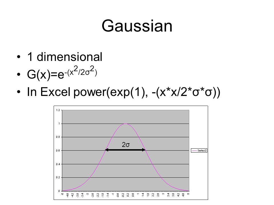 Gaussian 1 dimensional G(x)=e -(x 2 /2σ 2 ) In Excel power(exp(1), -(x*x/2*σ*σ)) 2σ2σ