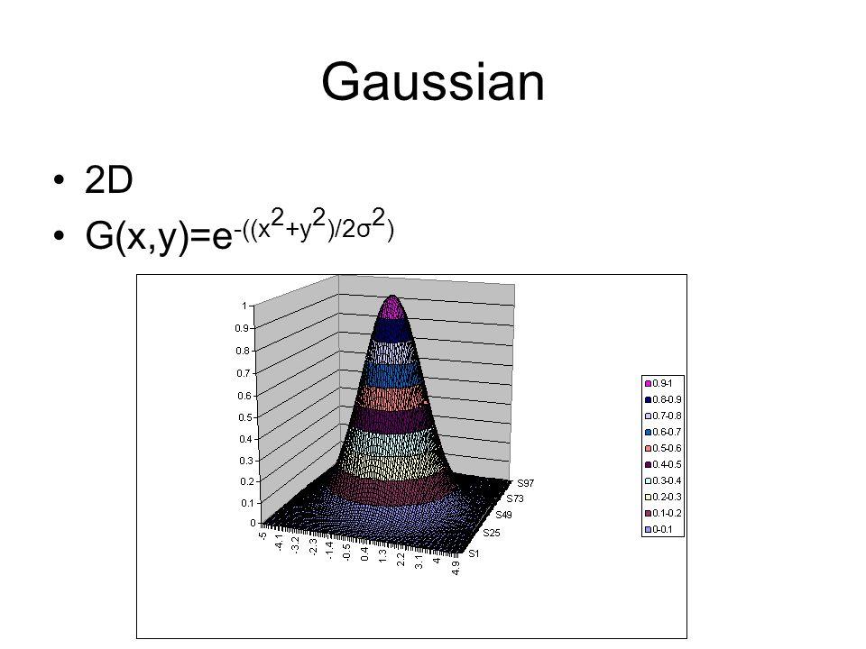 Gaussian 2D G(x,y)=e -((x 2 +y 2 )/2σ 2 )