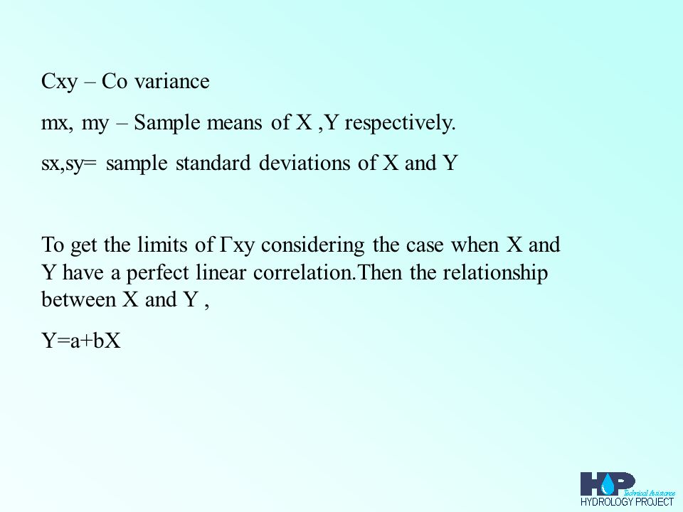 Cxy – Co variance mx, my – Sample means of X,Y respectively.