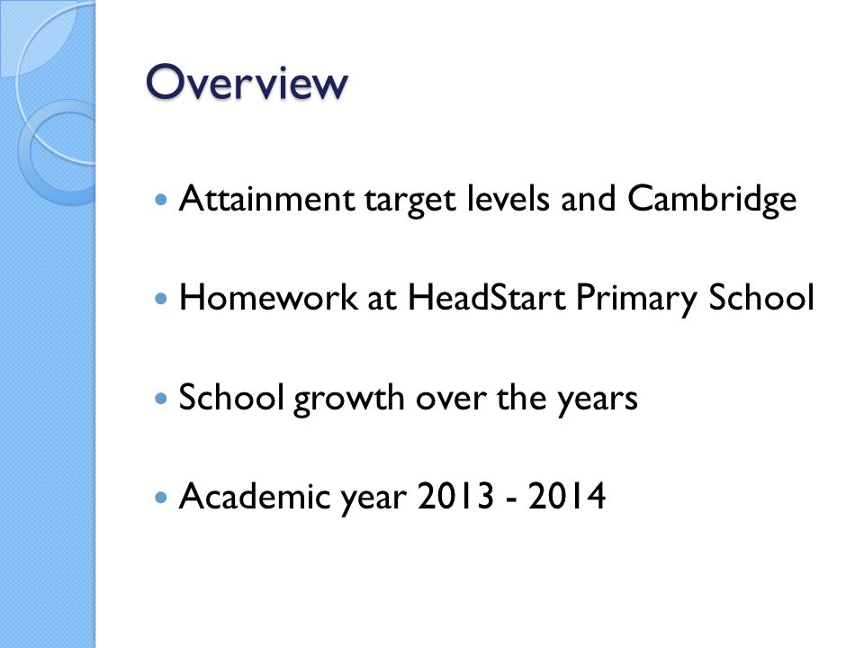 Overview Attainment target levels and Cambridge Homework at HeadStart Primary School School growth over the years Academic year 2013 - 2014