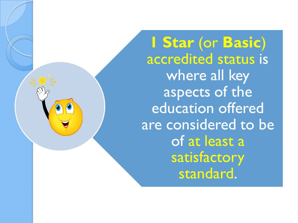 1 Star (or Basic) accredited status is where all key aspects of the education offered are considered to be of at least a satisfactory standard.