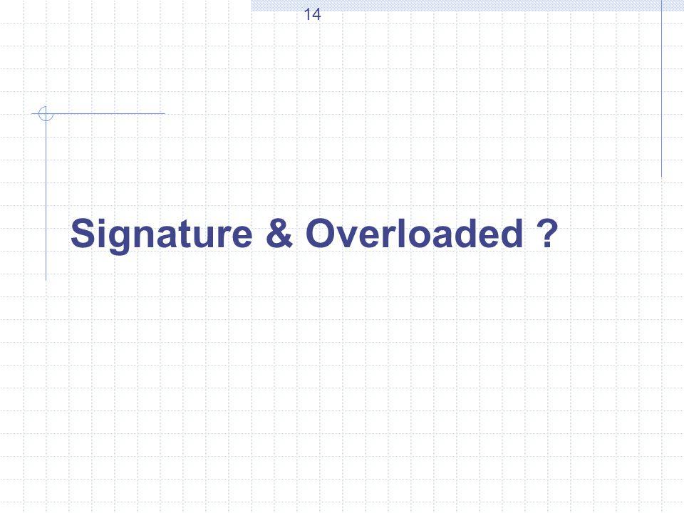 Signature & Overloaded ? 14