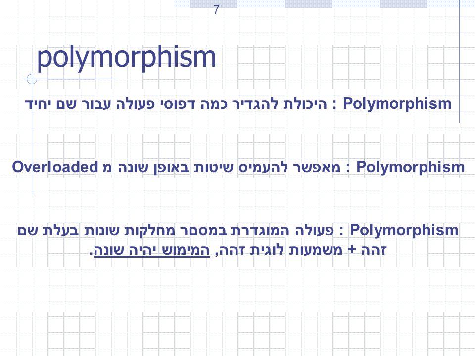 polymorphism Polymorphism : היכולת להגדיר כמה דפוסי פעולה עבור שם יחיד Polymorphism : מאפשר להעמיס שיטות באופן שונה מ Overloaded Polymorphism : פעולה