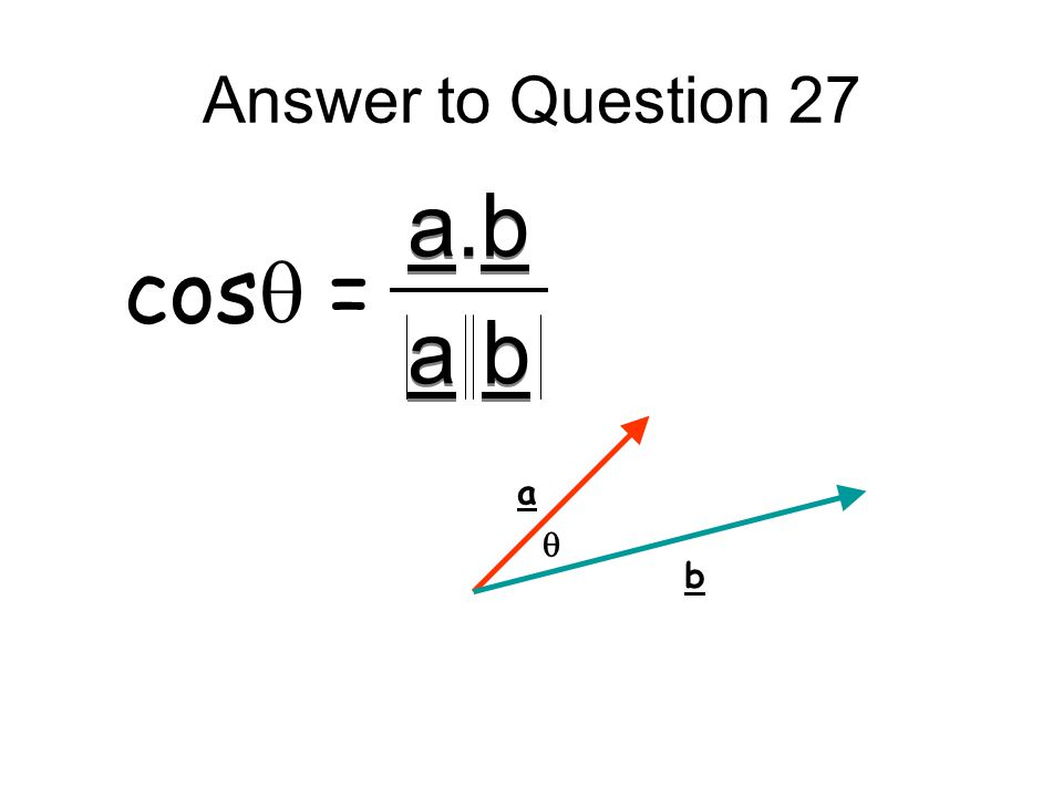 Answer to Question 27 a.b a b a.b a b cos  = a b 