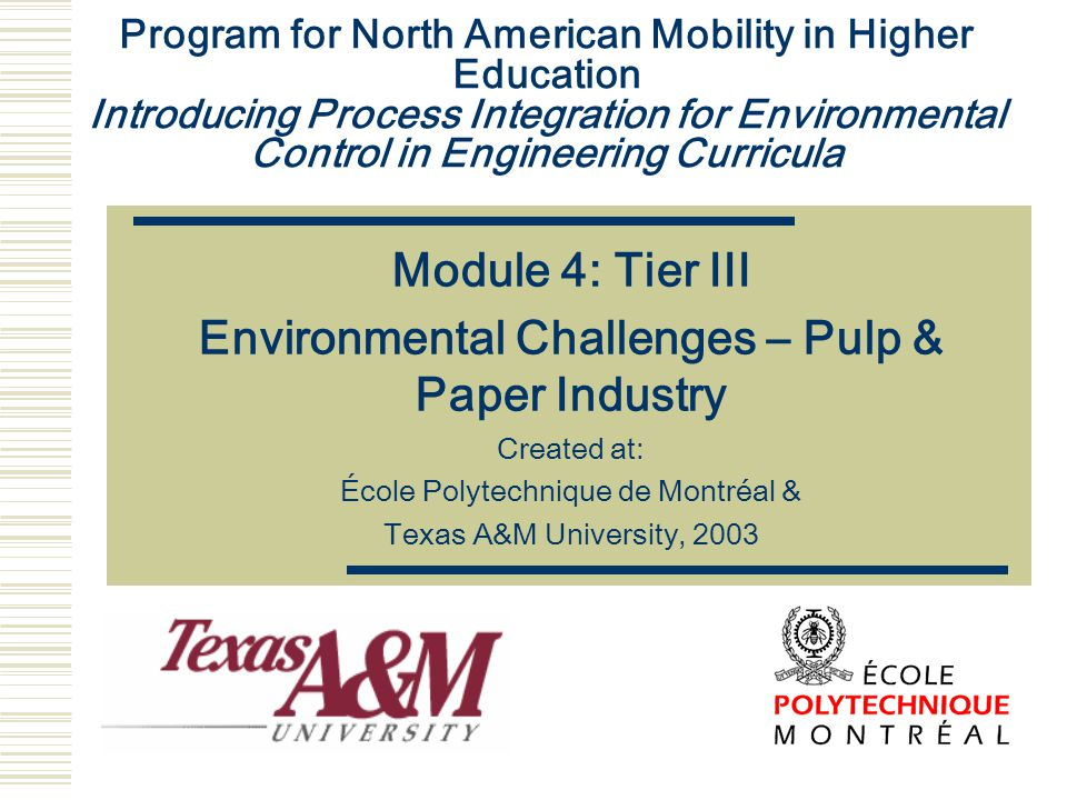 Program for North American Mobility in Higher Education Introducing Process Integration for Environmental Control in Engineering Curricula Module 4: T