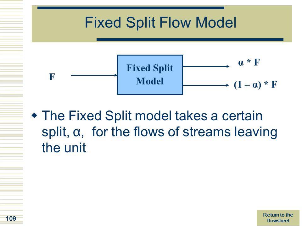 109 Fixed Split Flow Model Fixed Split Model F α * F (1 – α) * F  The Fixed Split model takes a certain split, α, for the flows of streams leaving th
