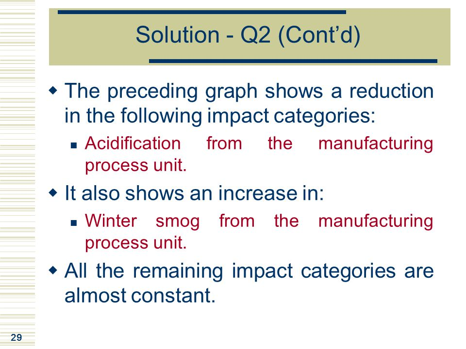 29 Solution - Q2 (Cont'd)  The preceding graph shows a reduction in the following impact categories: Acidification from the manufacturing process uni