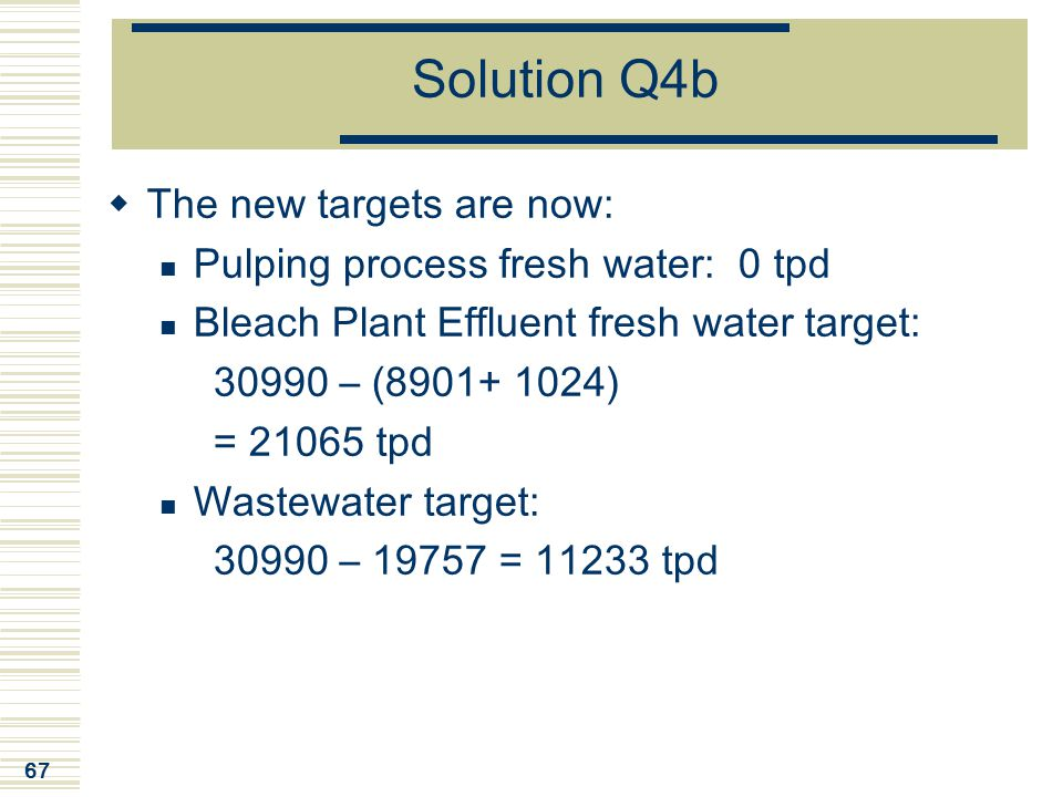 67 Solution Q4b  The new targets are now: Pulping process fresh water: 0 tpd Bleach Plant Effluent fresh water target: 30990 – (8901+ 1024) = 21065 t