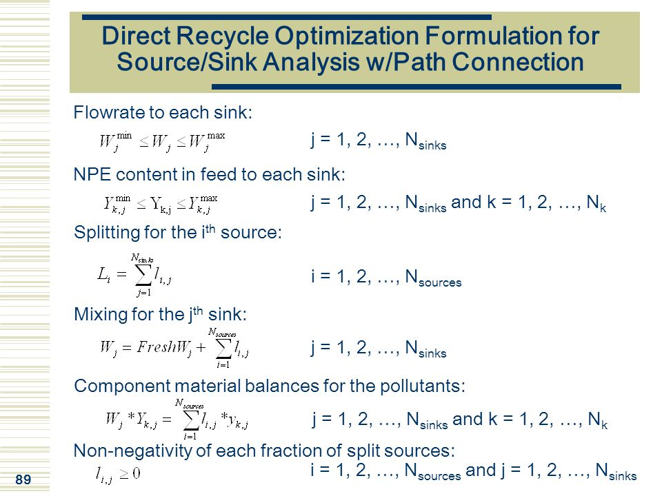 89 Direct Recycle Optimization Formulation for Source/Sink Analysis w/Path Connection j = 1, 2, …, N sinks NPE content in feed to each sink: j = 1, 2,