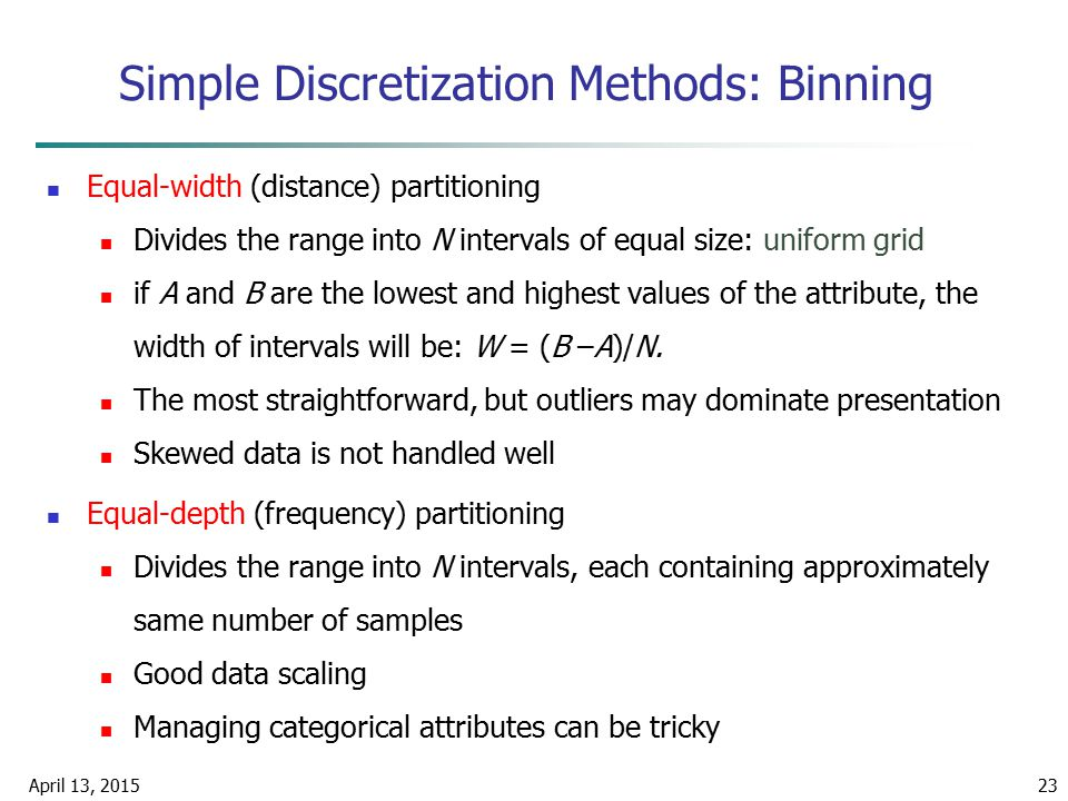 April 13, 201523 Simple Discretization Methods: Binning Equal-width (distance) partitioning Divides the range into N intervals of equal size: uniform