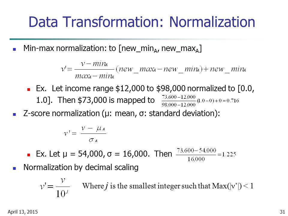 April 13, 201531 Data Transformation: Normalization Min-max normalization: to [new_min A, new_max A ] Ex. Let income range $12,000 to $98,000 normaliz