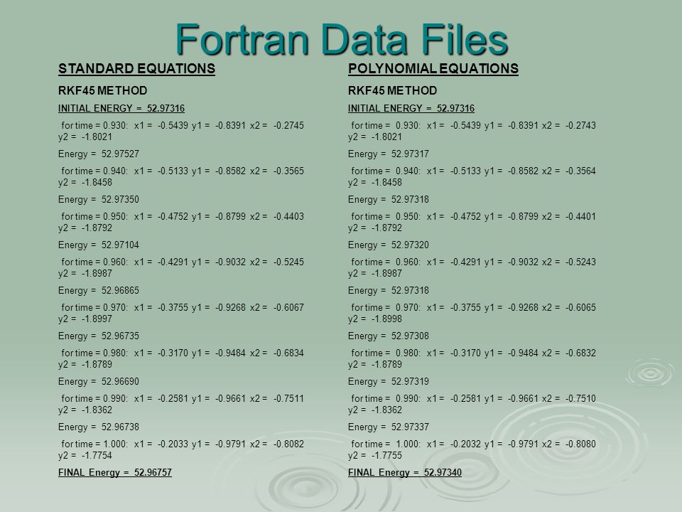 Fortran Data Files POLYNOMIAL EQUATIONS RKF45 METHOD INITIAL ENERGY = 52.97316 for time = 0.930: x1 = -0.5439 y1 = -0.8391 x2 = -0.2743 y2 = -1.8021 Energy = 52.97317 for time = 0.940: x1 = -0.5133 y1 = -0.8582 x2 = -0.3564 y2 = -1.8458 Energy = 52.97318 for time = 0.950: x1 = -0.4752 y1 = -0.8799 x2 = -0.4401 y2 = -1.8792 Energy = 52.97320 for time = 0.960: x1 = -0.4291 y1 = -0.9032 x2 = -0.5243 y2 = -1.8987 Energy = 52.97318 for time = 0.970: x1 = -0.3755 y1 = -0.9268 x2 = -0.6065 y2 = -1.8998 Energy = 52.97308 for time = 0.980: x1 = -0.3170 y1 = -0.9484 x2 = -0.6832 y2 = -1.8789 Energy = 52.97319 for time = 0.990: x1 = -0.2581 y1 = -0.9661 x2 = -0.7510 y2 = -1.8362 Energy = 52.97337 for time = 1.000: x1 = -0.2032 y1 = -0.9791 x2 = -0.8080 y2 = -1.7755 FINAL Energy = 52.97340 STANDARD EQUATIONS RKF45 METHOD INITIAL ENERGY = 52.97316 for time = 0.930: x1 = -0.5439 y1 = -0.8391 x2 = -0.2745 y2 = -1.8021 Energy = 52.97527 for time = 0.940: x1 = -0.5133 y1 = -0.8582 x2 = -0.3565 y2 = -1.8458 Energy = 52.97350 for time = 0.950: x1 = -0.4752 y1 = -0.8799 x2 = -0.4403 y2 = -1.8792 Energy = 52.97104 for time = 0.960: x1 = -0.4291 y1 = -0.9032 x2 = -0.5245 y2 = -1.8987 Energy = 52.96865 for time = 0.970: x1 = -0.3755 y1 = -0.9268 x2 = -0.6067 y2 = -1.8997 Energy = 52.96735 for time = 0.980: x1 = -0.3170 y1 = -0.9484 x2 = -0.6834 y2 = -1.8789 Energy = 52.96690 for time = 0.990: x1 = -0.2581 y1 = -0.9661 x2 = -0.7511 y2 = -1.8362 Energy = 52.96738 for time = 1.000: x1 = -0.2033 y1 = -0.9791 x2 = -0.8082 y2 = -1.7754 FINAL Energy = 52.96757