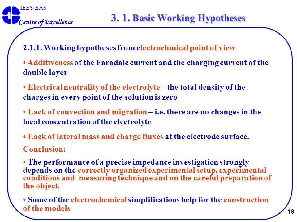 16 IEES-BAS Centre of Excellence 2.1.1. Working hypotheses from electrochmical point of view Additiveness of the Faradaic current and the charging cur