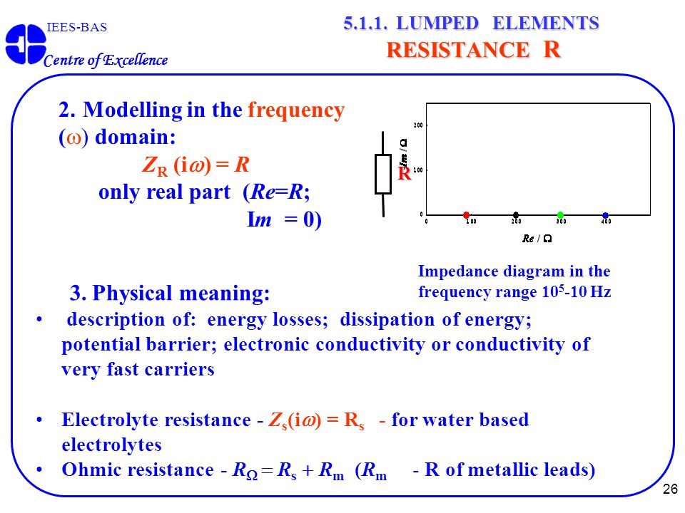 26 IEES-BAS Centre of Excellence 5.1.1. LUMPED ELEMENTS RESISTANCE R 3. Physical meaning: description of: energy losses; dissipation of energy; potent