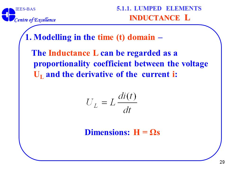 29 IEES-BAS Centre of Excellence 5.1.1. LUMPED ELEMENTS INDUCTANCE L 1.Modelling in the time (t) domain – The Inductance L can be regarded as a propor