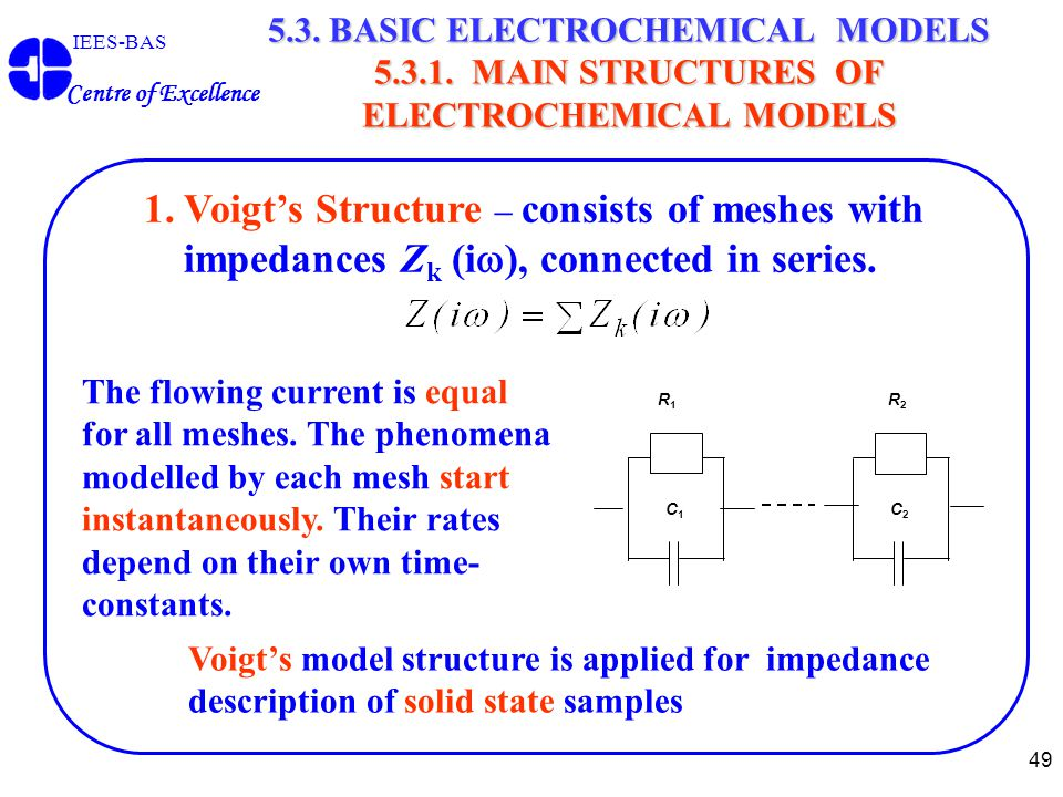 49 IEES-BAS Centre of Excellence 5.3. BASIC ELECTROCHEMICAL MODELS 5.3.1. MAIN STRUCTURES OF ELECTROCHEMICAL MODELS 1.Voigt's Structure – consists of