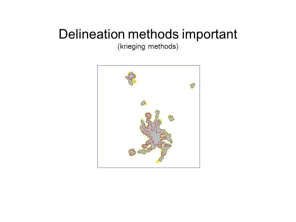 Delineation methods important (krieging methods)