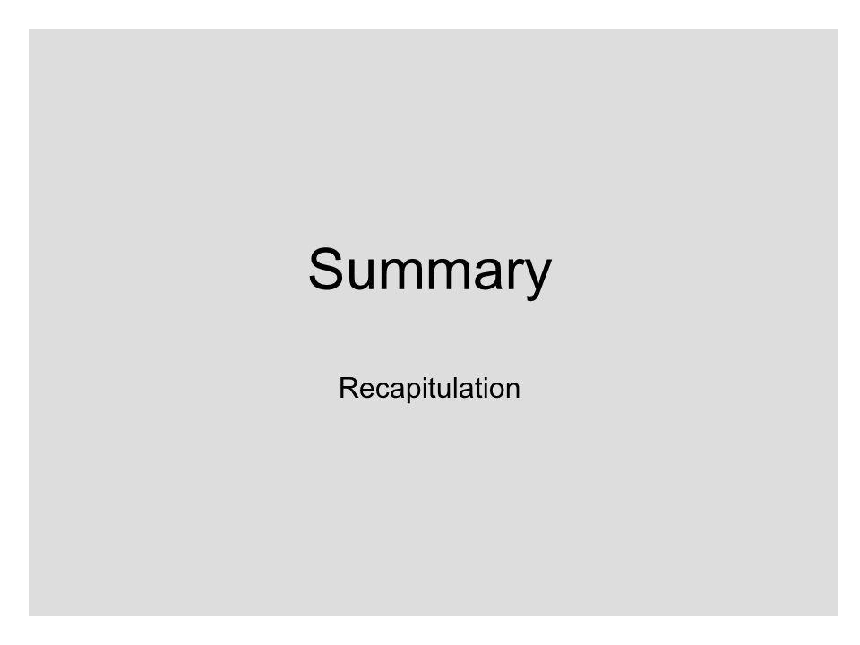 Summary Recapitulation