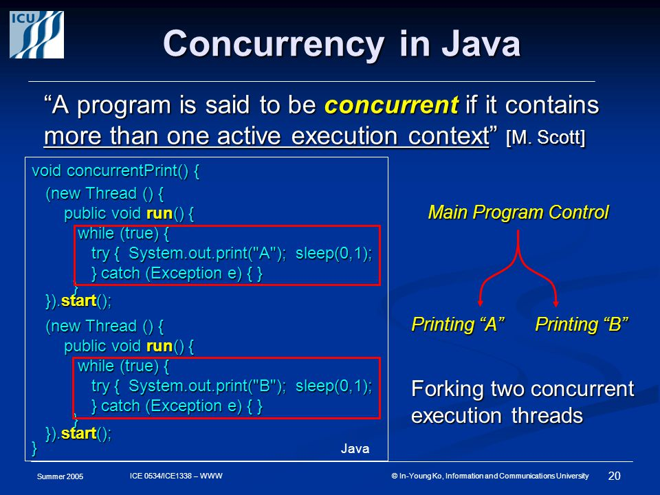 Summer 2005 20 ICE 0534/ICE1338 – WWW © In-Young Ko, Information and Communications University Concurrency in Java A program is said to be concurrent if it contains more than one active execution context [M.